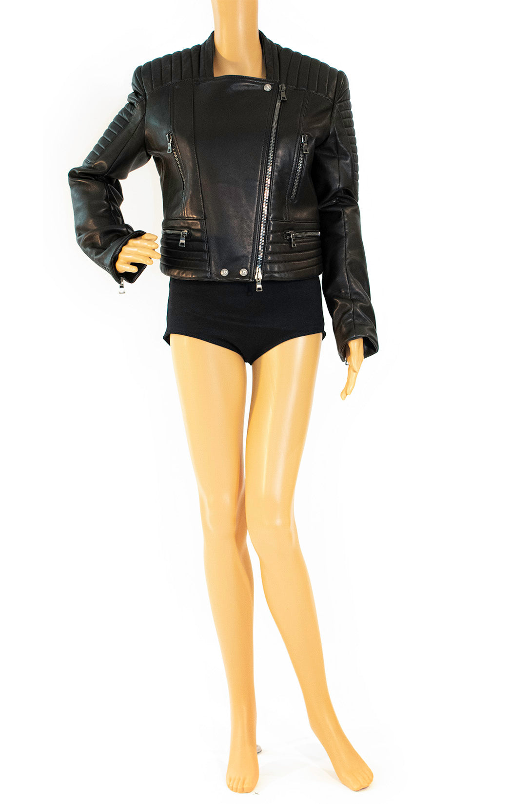 Front view of BALMAIN Leather jacket Size: FR 42 (comparable to US size 10) fits more like a size 8