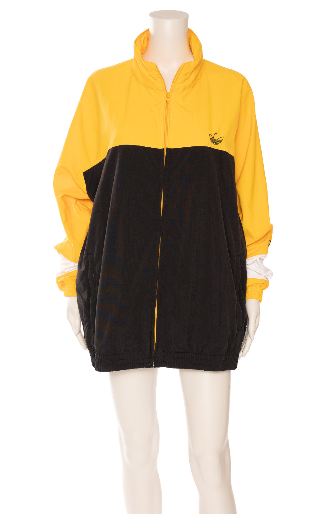 Yellow black and white zipper front jacket with zipper front pockets