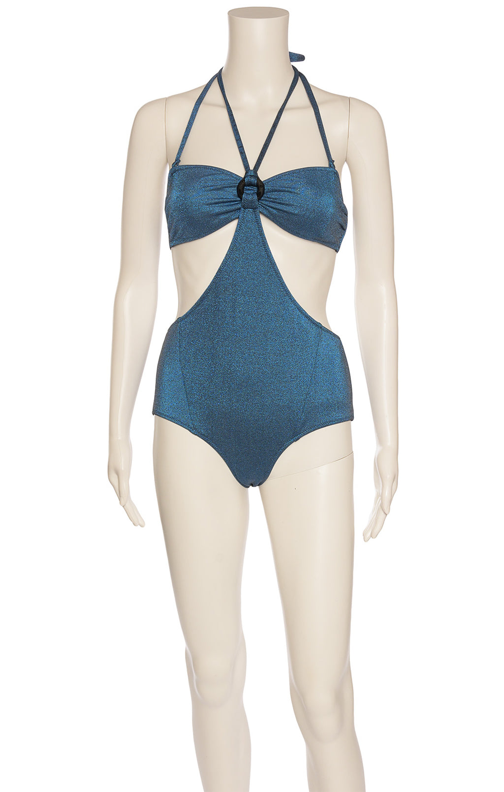 Midnight blue with silver sparkle metallic fabric one piece bathing suit