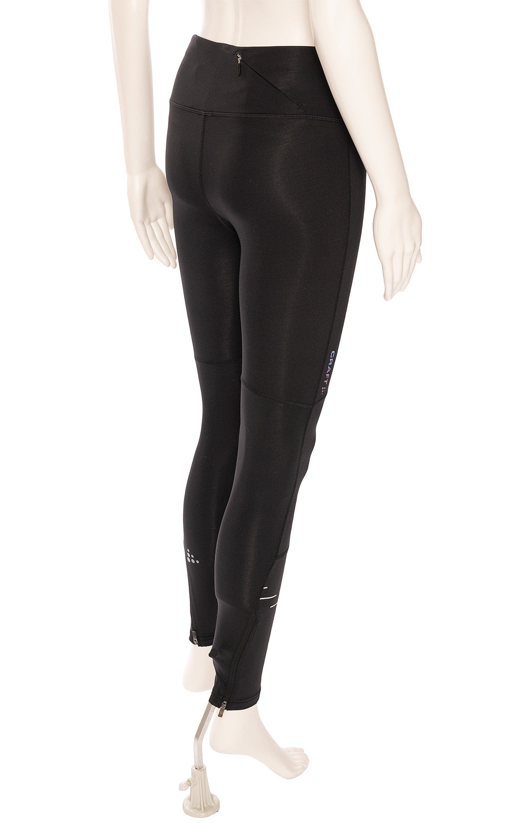 Black leggings with design and zippers at bottom hemline