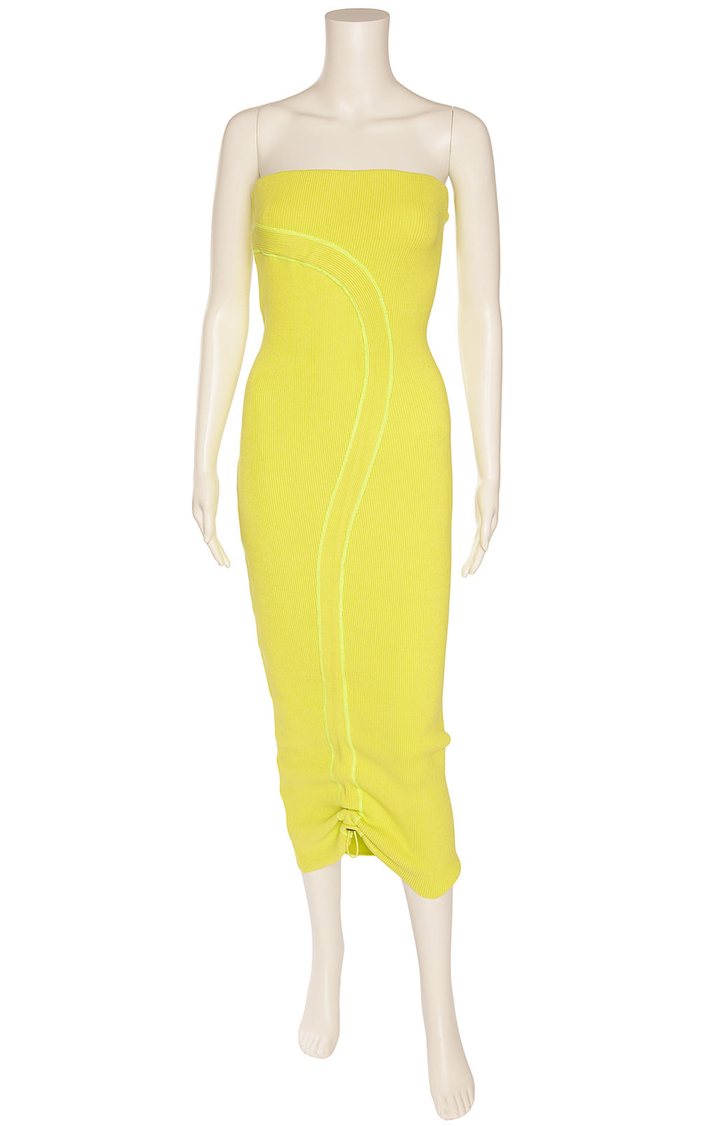 Neon green strapless ribbed kit like, form fitting midi dress with front design