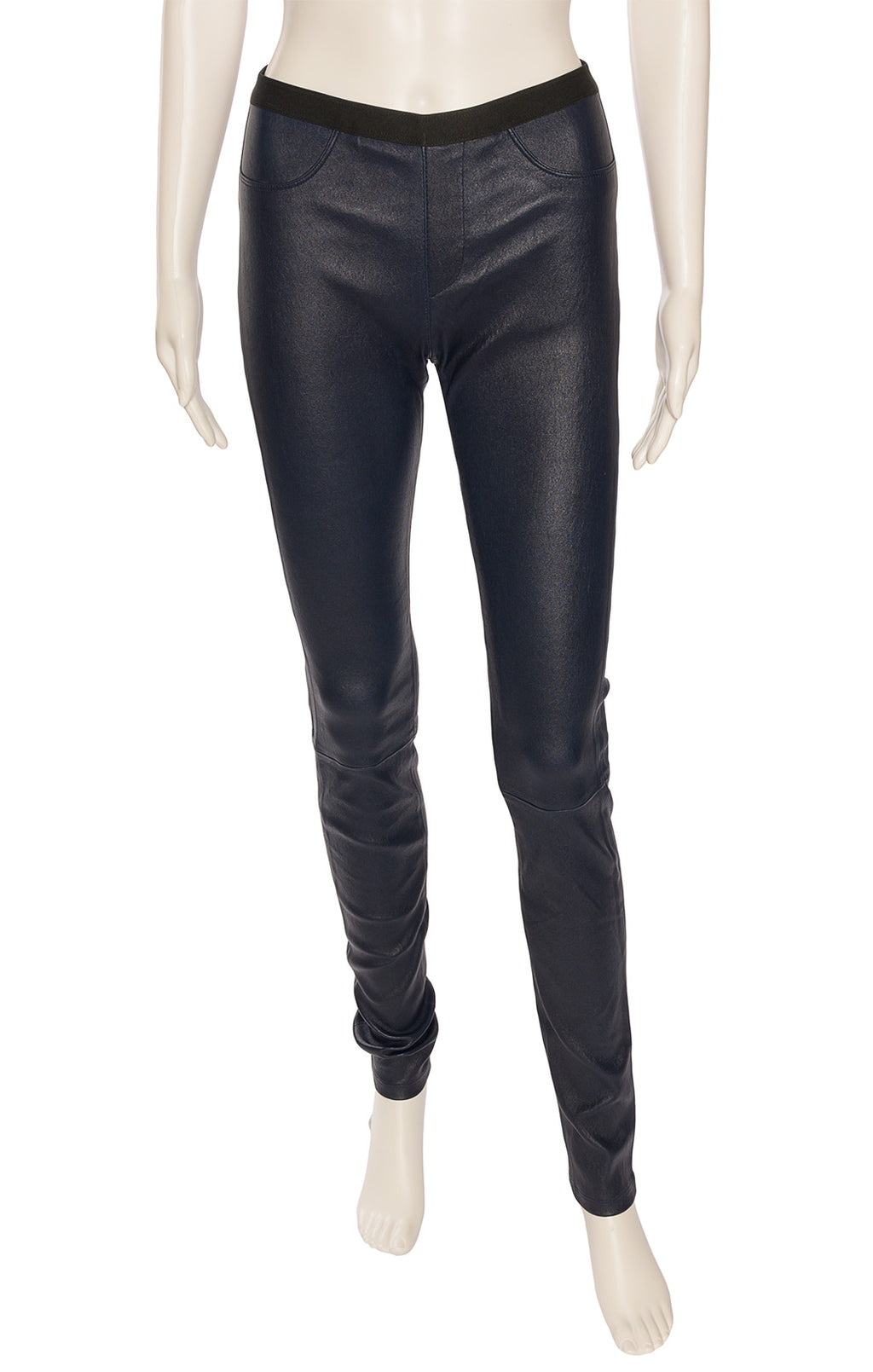 Deep navy lamb leather form fitting pants with front design pockets and back slit pockets