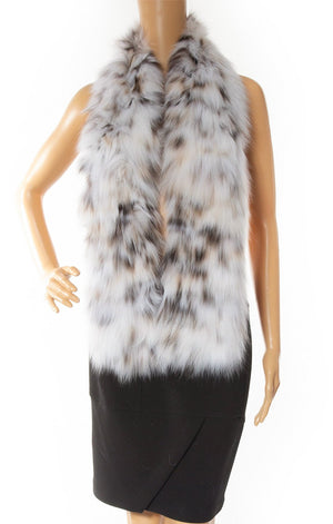 Close up view of NO NAME ( custom made for Kris) Lynx fur matching scarf/belt