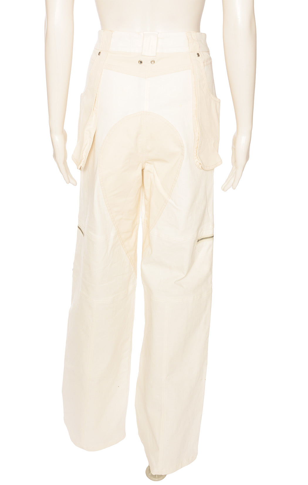 Ivory and beige full volume pant with front pockets, front zipper and decorative silver zippers