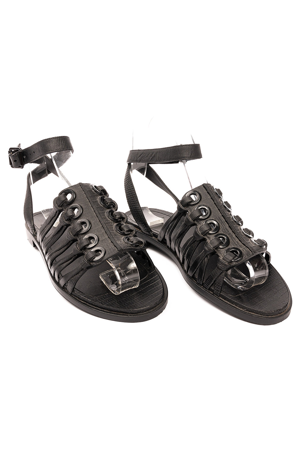 Black leather ankle strap open toe flat sandals