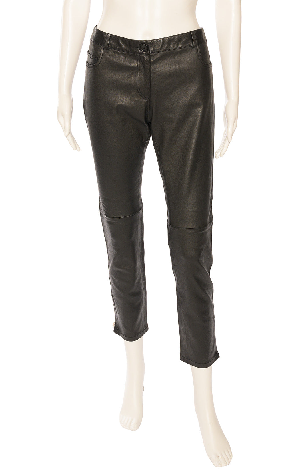 Black leather five-pocket style pant with silver zippers at hemline