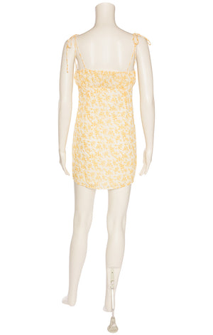 Yellow and white floral spaghetti strap empire dress
