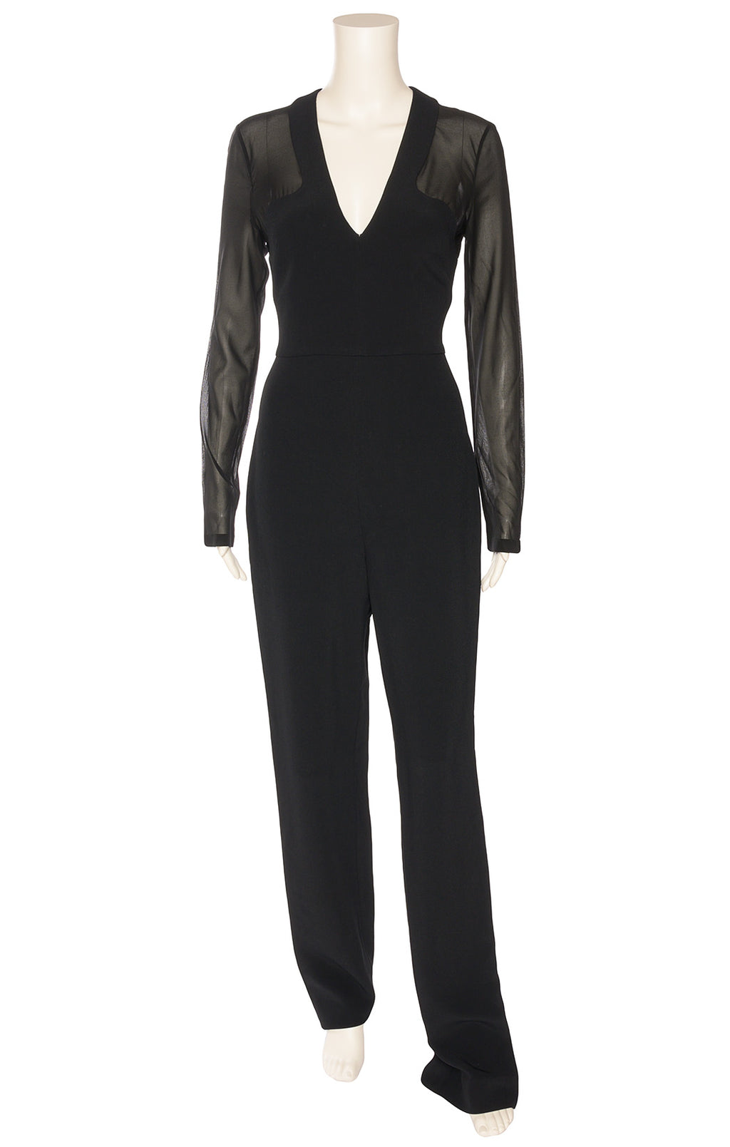 Black v-neck jumpsuit with chiffon long sleeves and waist with back zipper