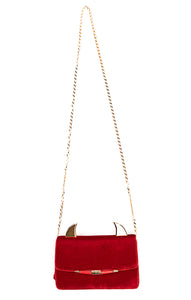 "Red velvet clutch/shoulder bag with gold hardware and gold ""devil"" ears on top"