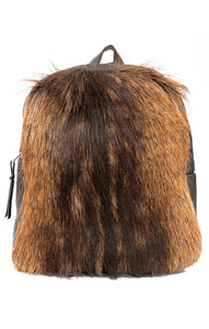 Black leather with brown fur front backpack and top zipper