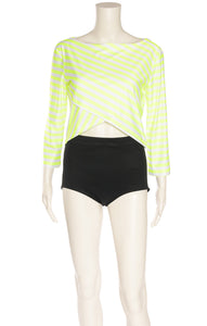 Neon yellow and white stripe 3/4 sleeve top with criss-cross design at bottom