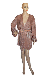 Front view of RETROFETE Sequined Mini Dress Size: Small