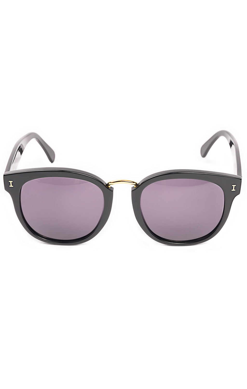 Black with dark purple lens sunglasses