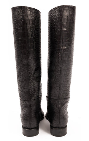 Black embossed leather pull on flat boots