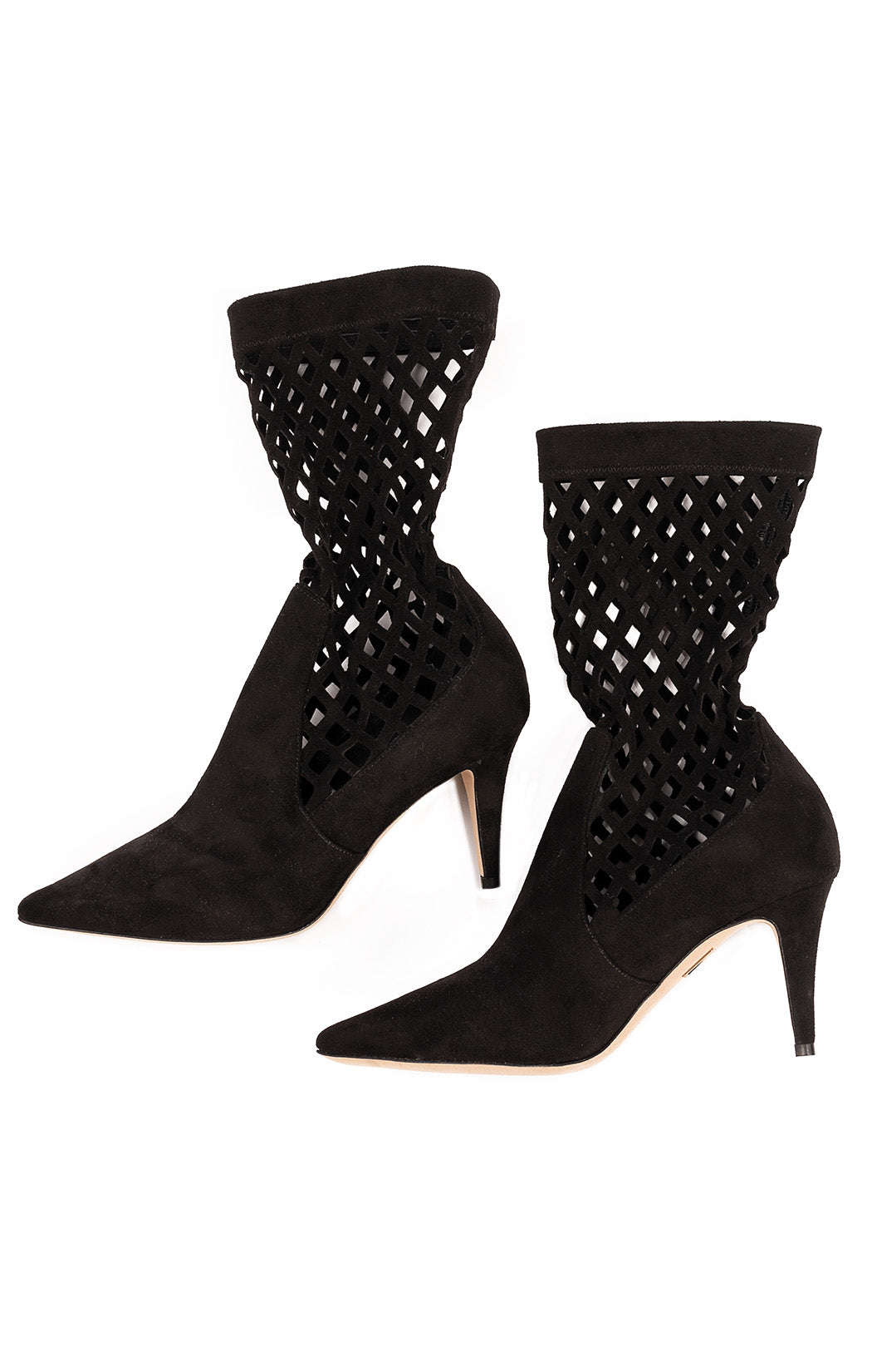 Black suede mid calf booty with open criss cross design