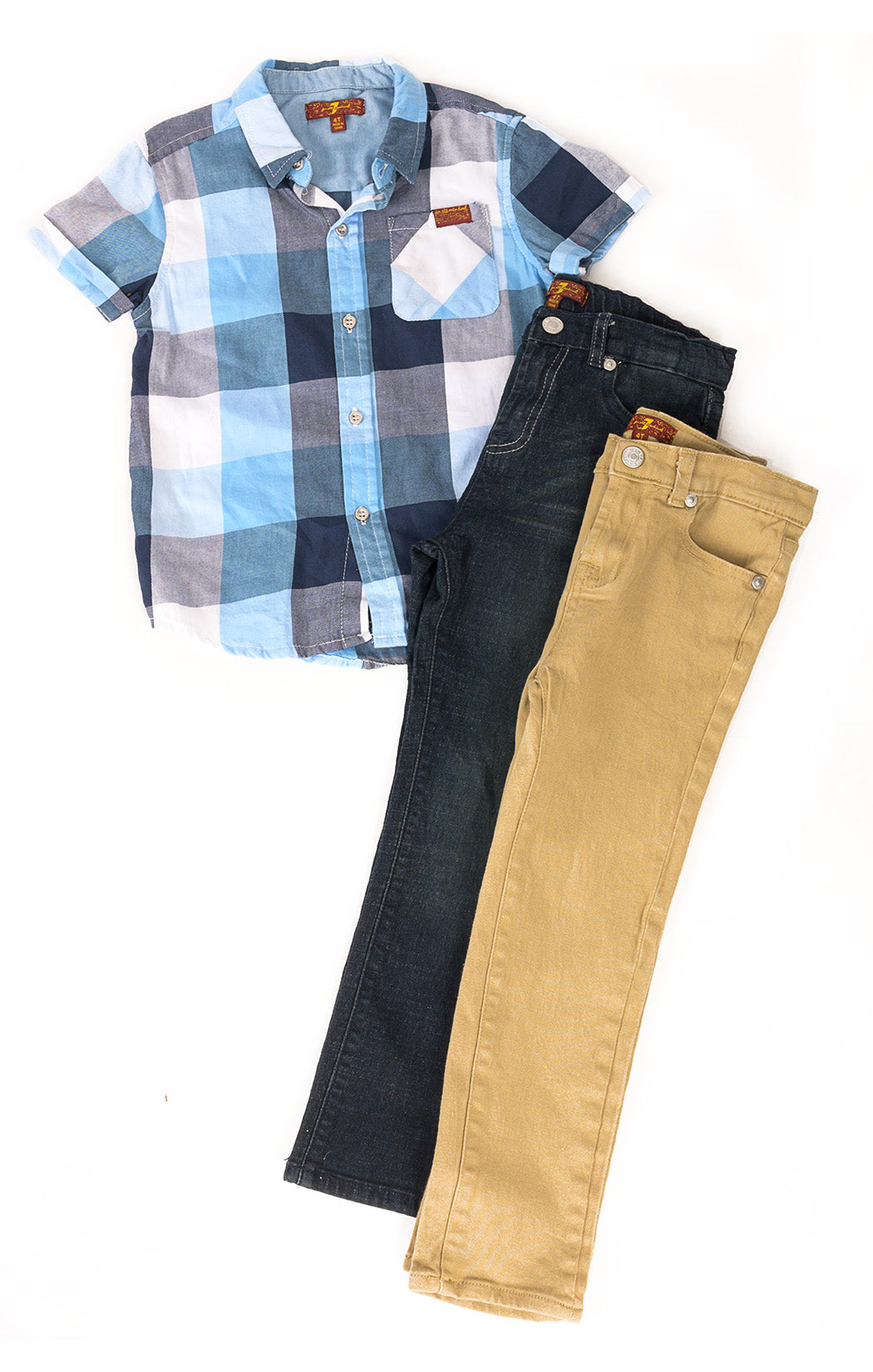 Front view of 7 FOR ALL MANKIND Jeans (2) and shirt Size: All 4