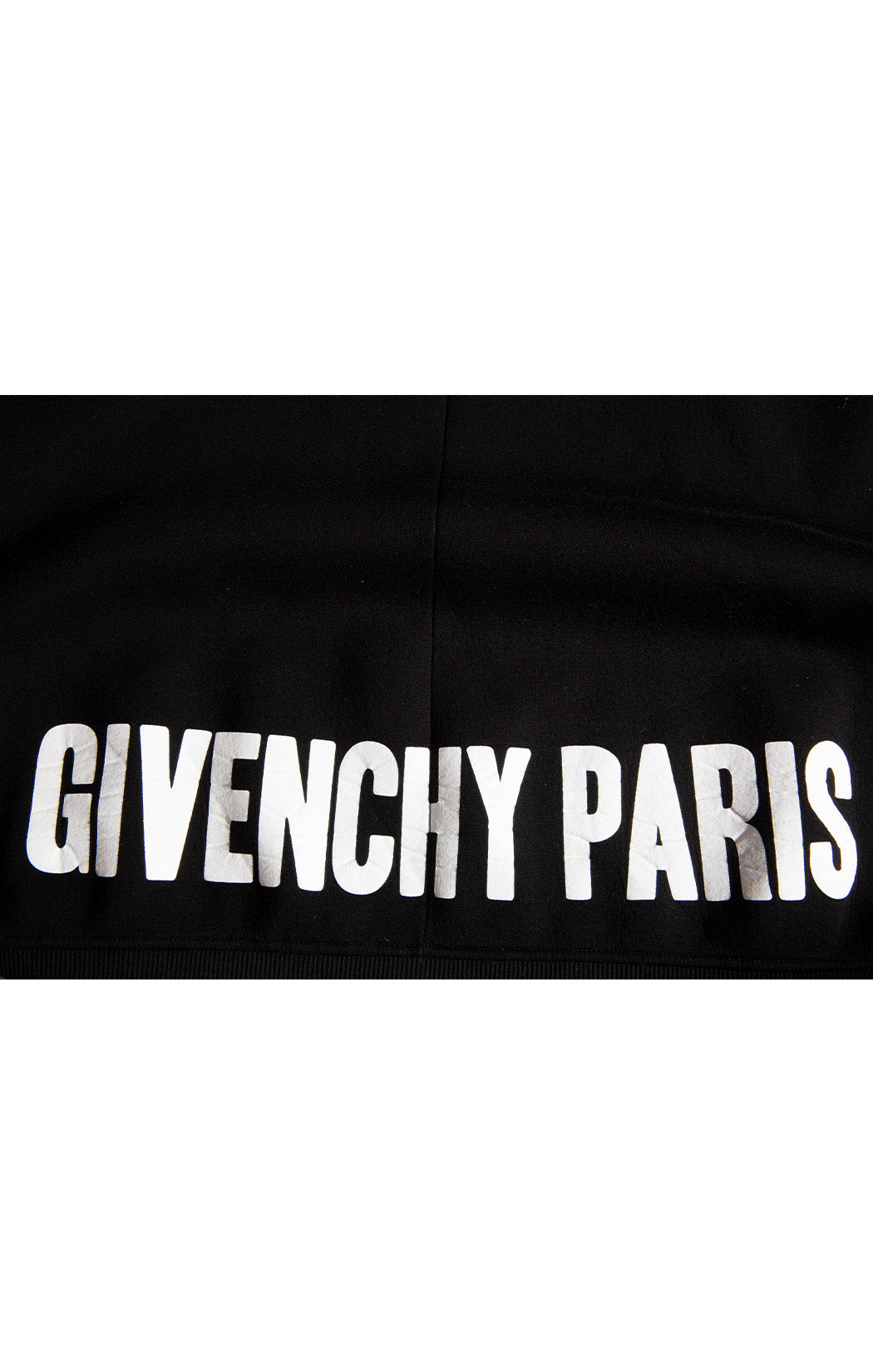 Closeup of GIVENCHY PARIS lettering on back