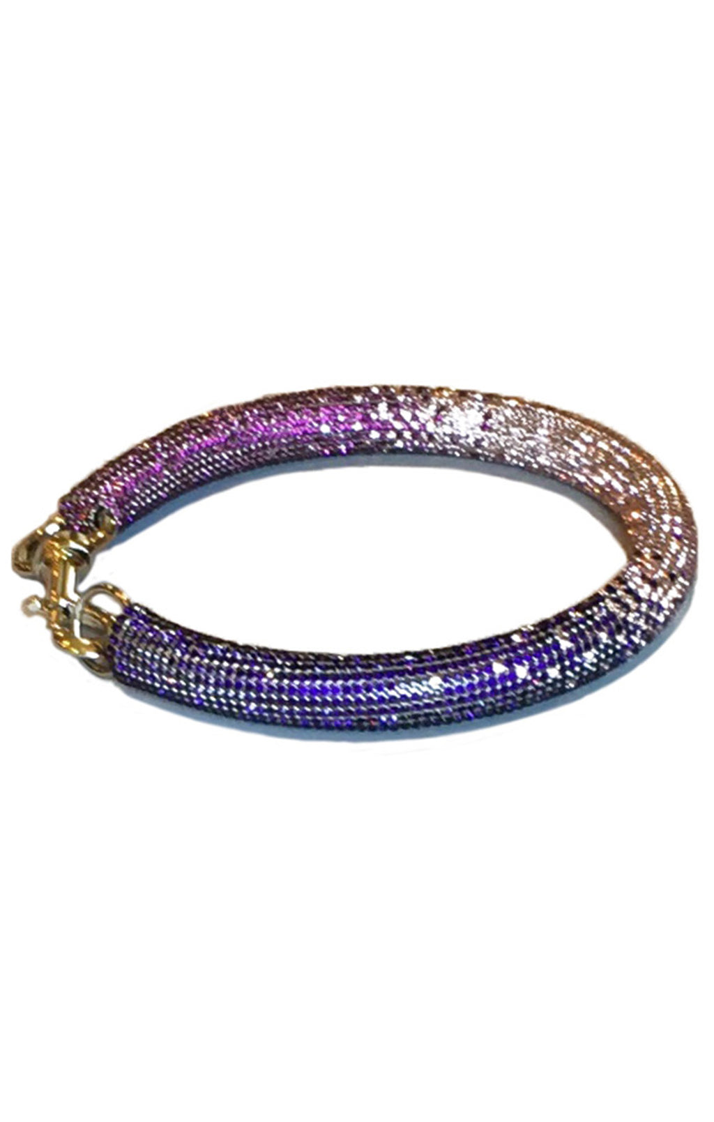 Pink to purple ombré thick necklace with silver metal clasp