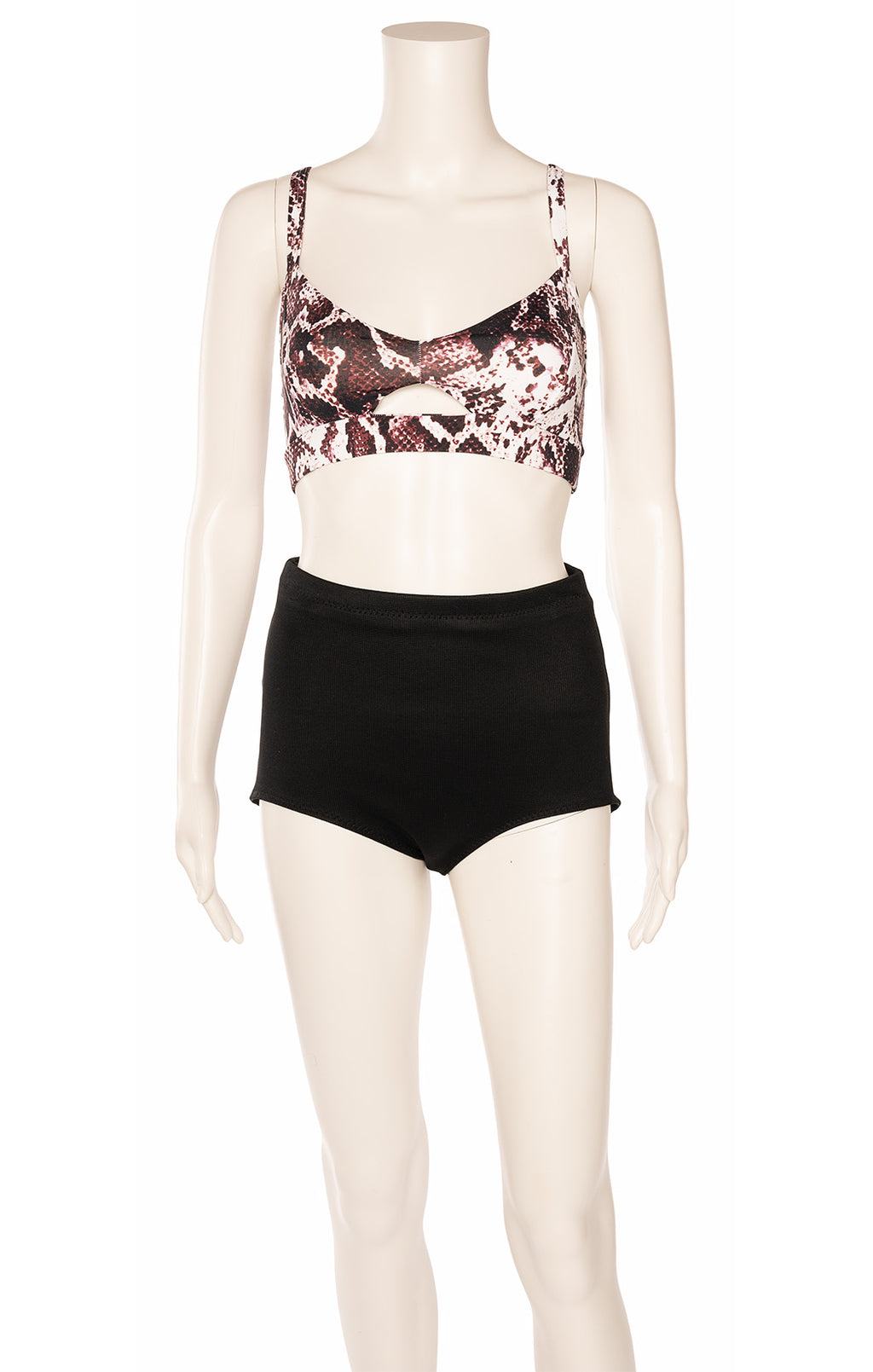 Burgundy and white snakeskin print jogging bra