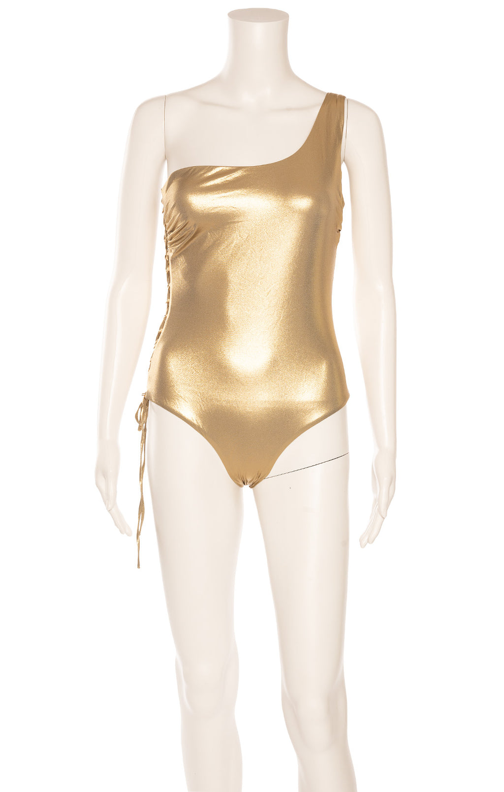 Gold one shoulder one piece bathing suit with gold grommets and open lace up side