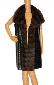 Front view of YVES SALOMON Brown Crocodile and Sable Fur Vest Size: FR 38 (US 6)