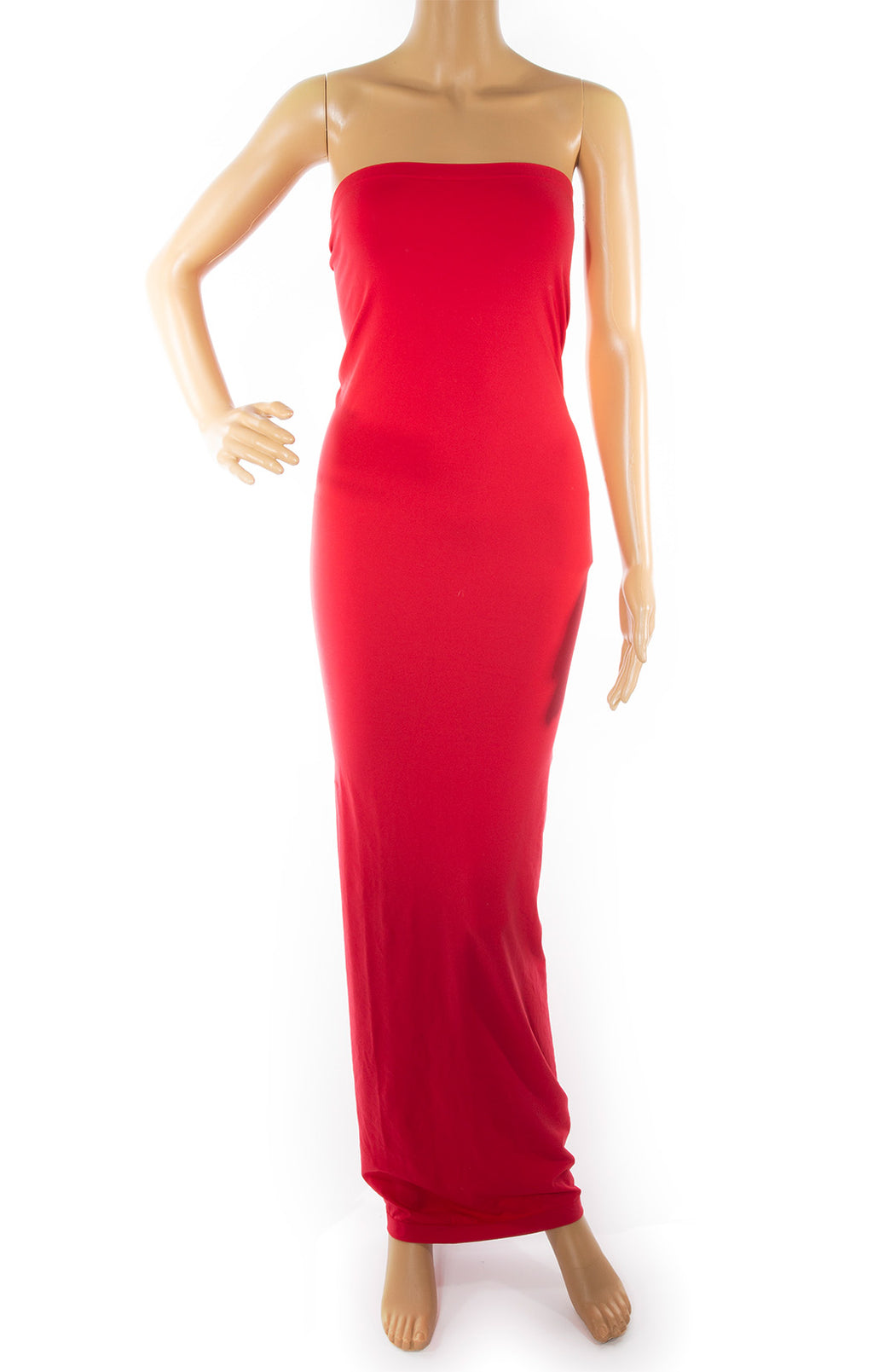 Front view of WOLFORD w/tags Strapless long dress Size: Medium