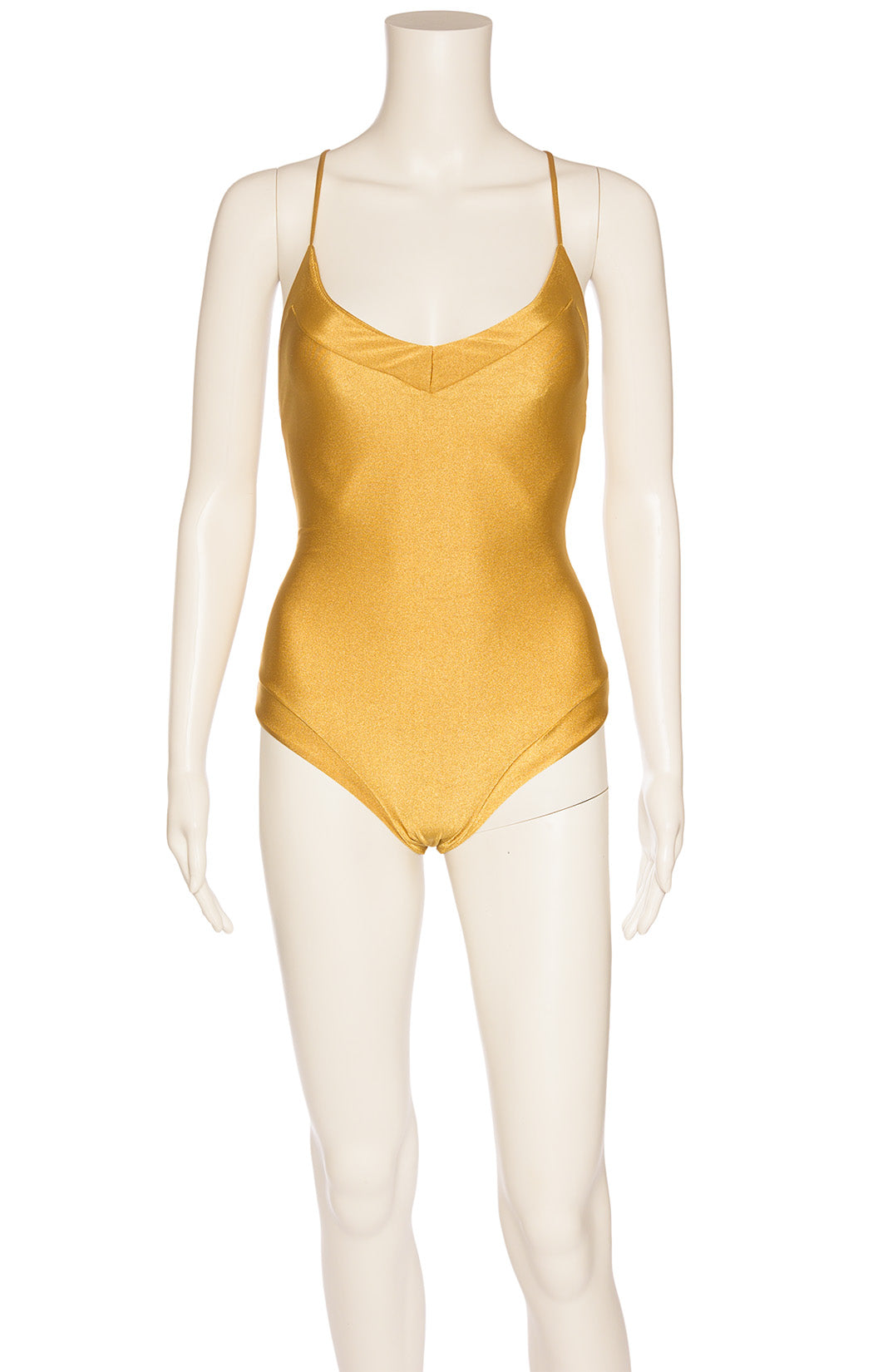 Gold one piece bathing suit with criss cross open back