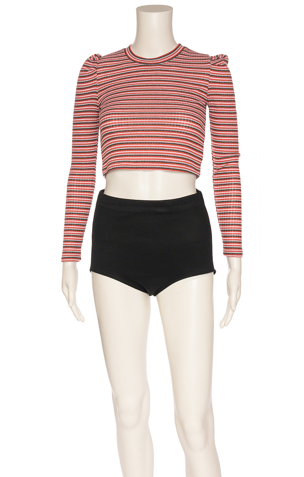 Red black gray and Shute stripe long sleeve top