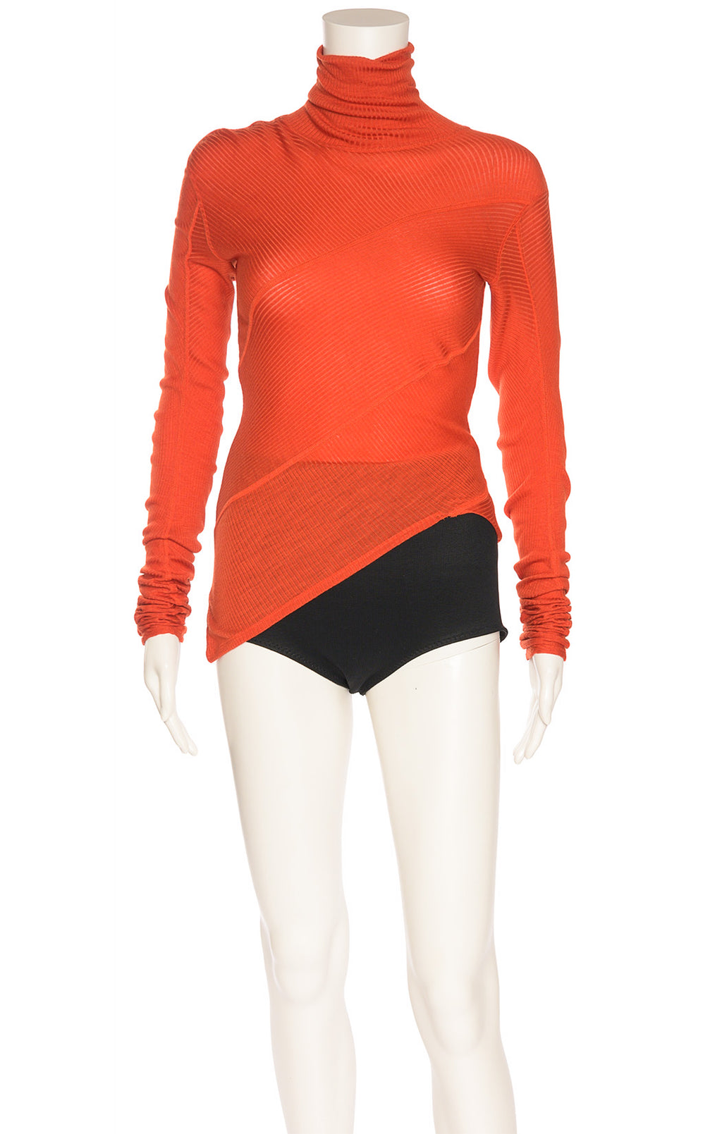 Orange red asymmetrical turtleneck long sleeve top with design