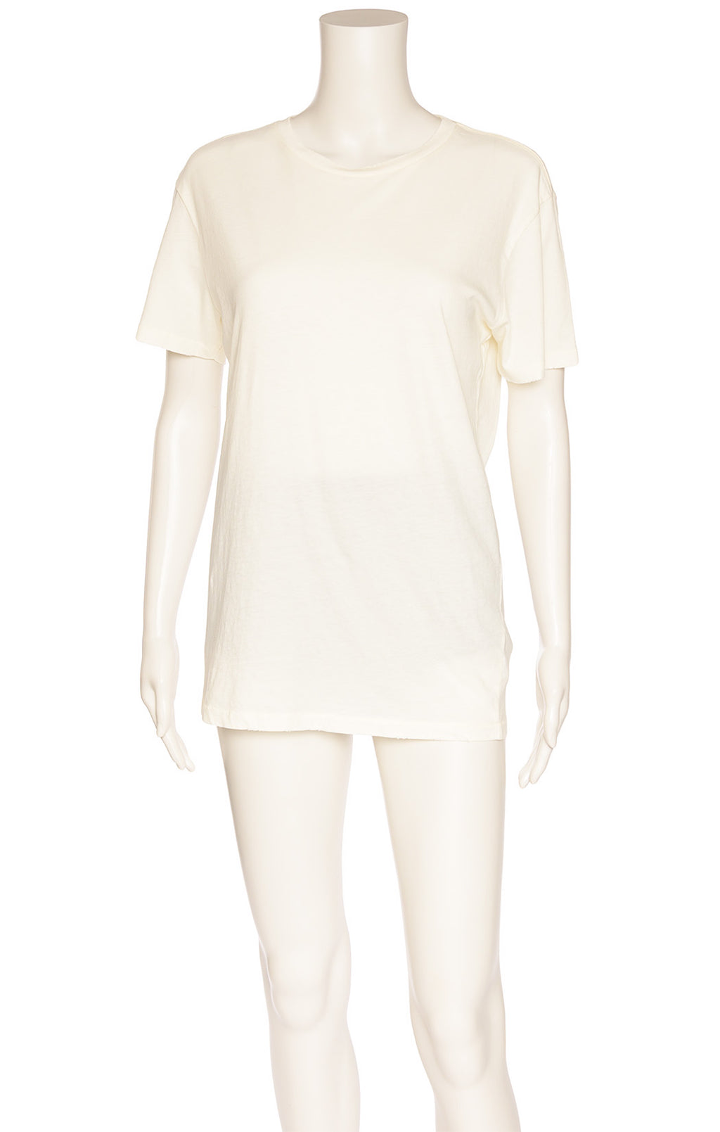 Off white short sleeve t-shirt with frayed edges