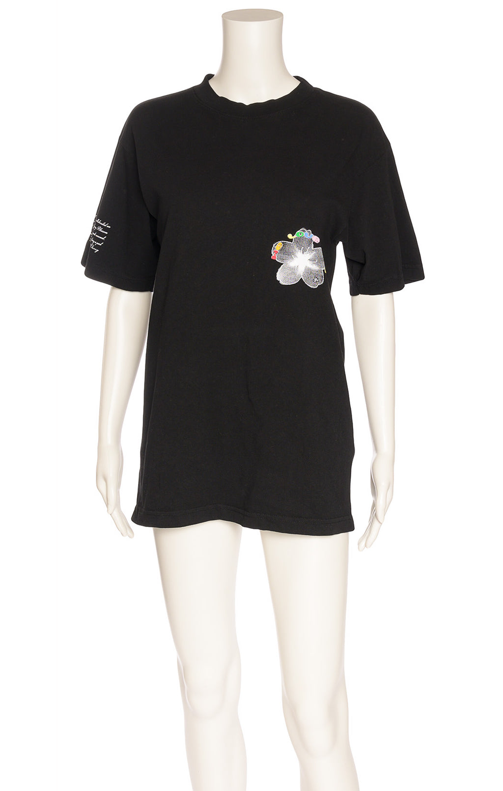 Black shirt sleeve t-shirt with graphics front and back