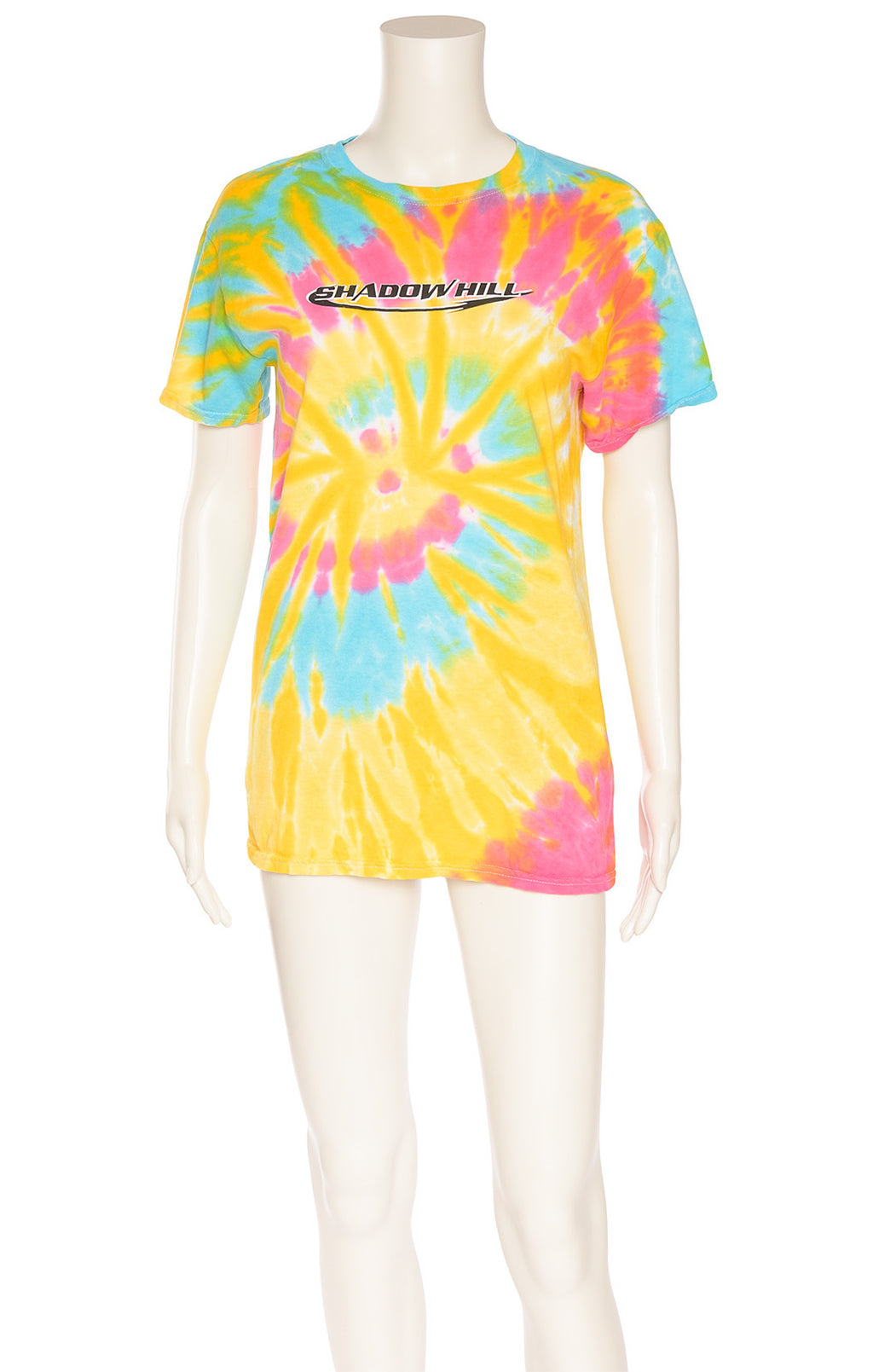 Yellow blue and pink shirt sleeve tie dye t-shirt