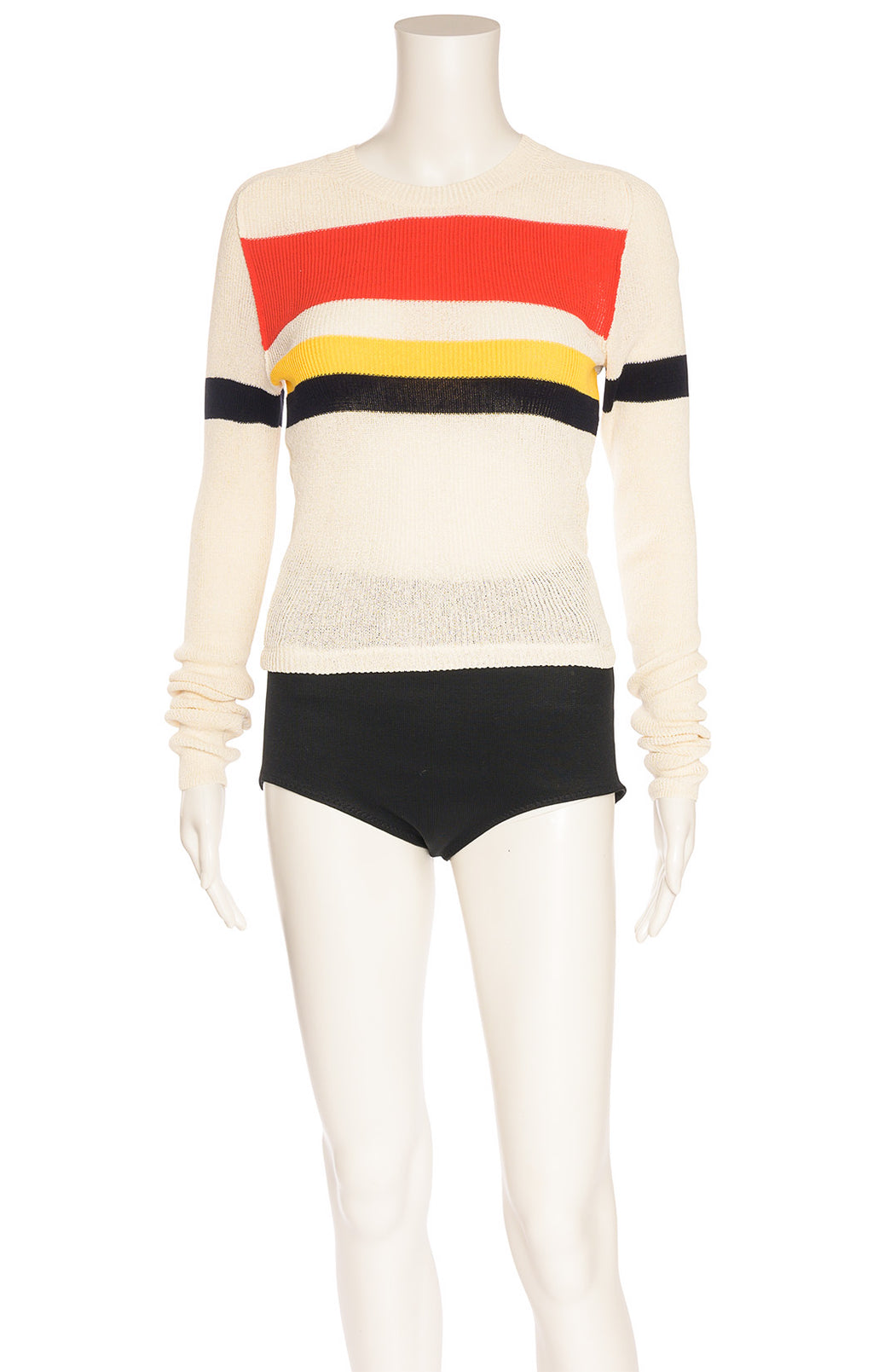 Ivory long sleeve sweater with red yellow and black stripes