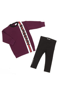 Front view of BURBERRY with tags Sweatshirt and leggings Size: 2 years