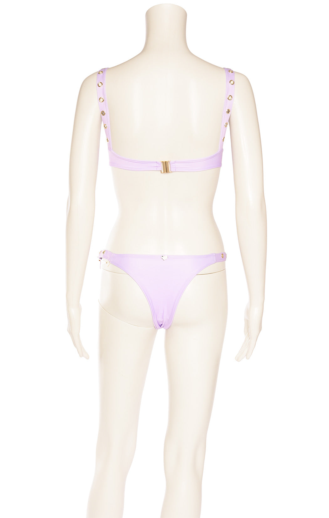 Lavender underwire bra and matching bottoms with silver and plastic  decoration