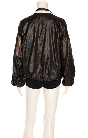 Black white and brown design zipper front jacket