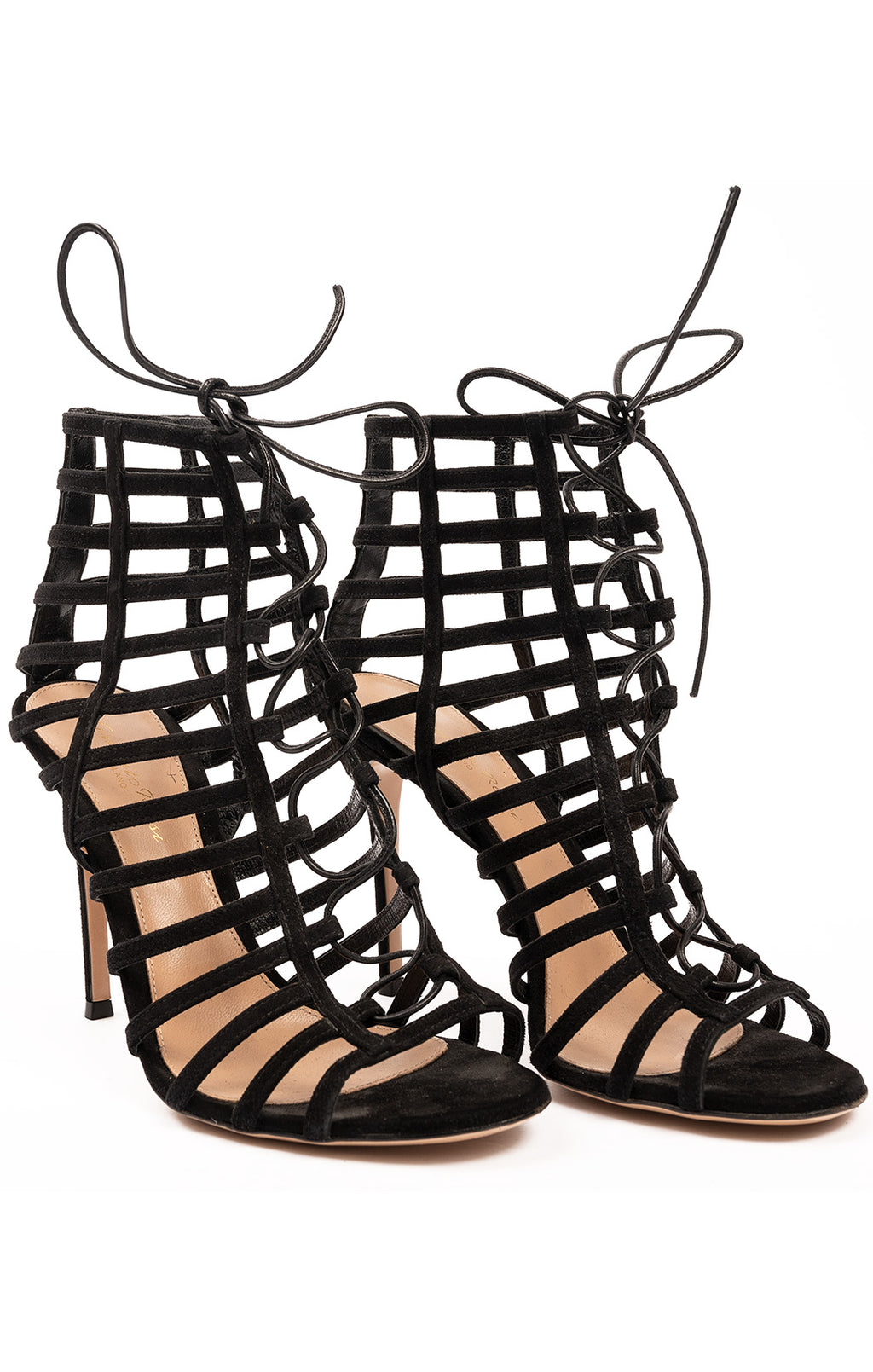 "Black suede cage like style, lace front with 4.5"" heel"