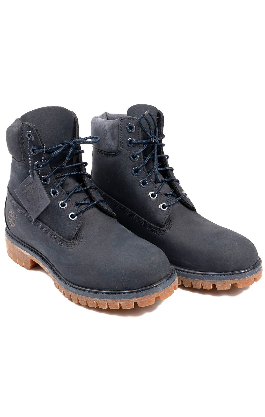 Navy suede lace up boots with rubber sole