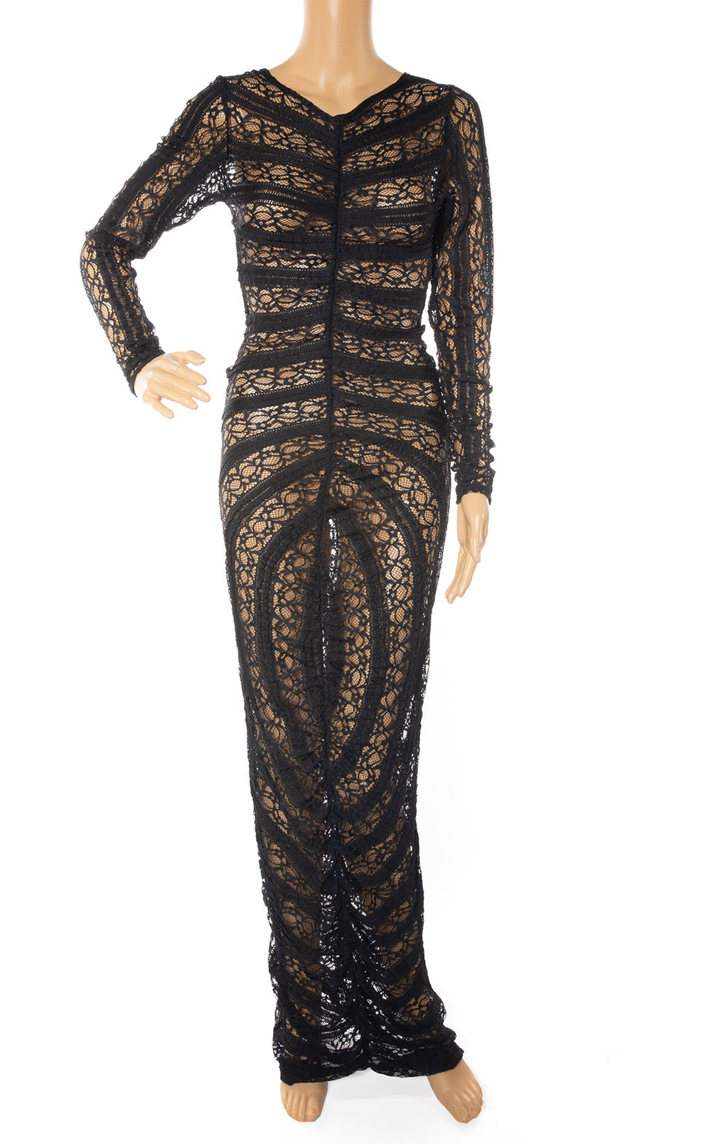 Front view of SANYAE DEMURE Long lace dress Size: no tags fits like Small