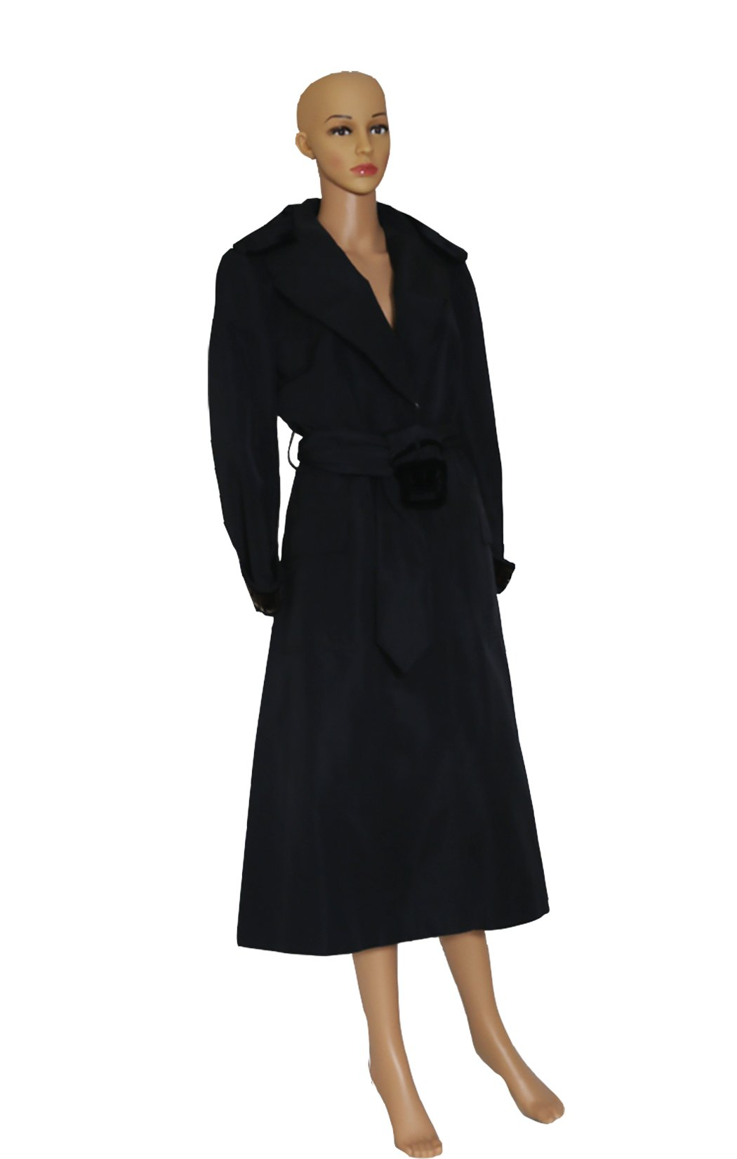 Front view of FENDI Black Trench Coat Size: IT 44 (US 8)