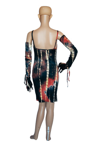 Back view of KIM SHUI Mini Dress and Gloves with Tags