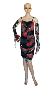 Front view of KIM SHUI Mini Dress and Gloves with Tags Size: Medium