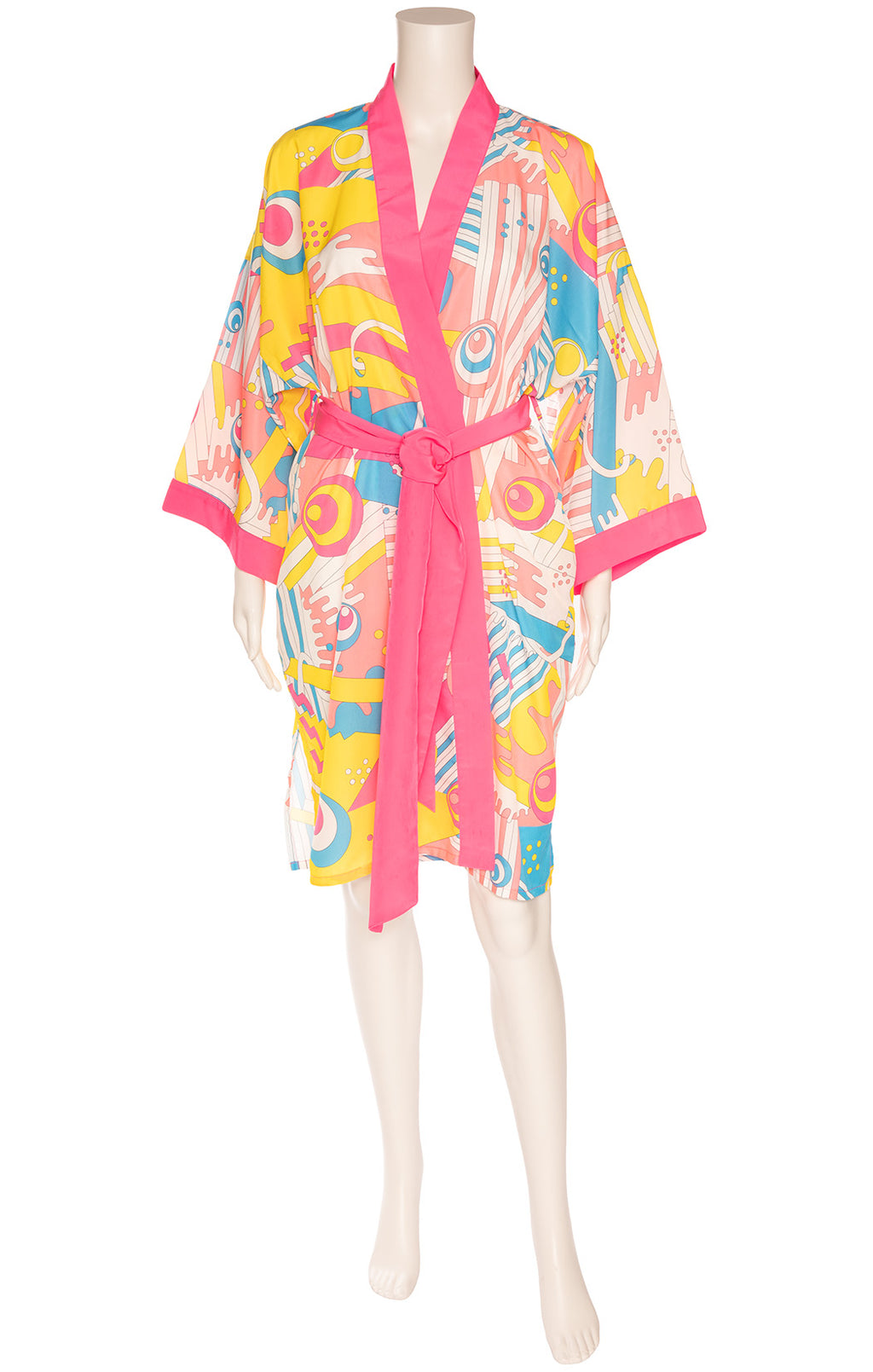 Pink yellow blue orange and white print wrap robe