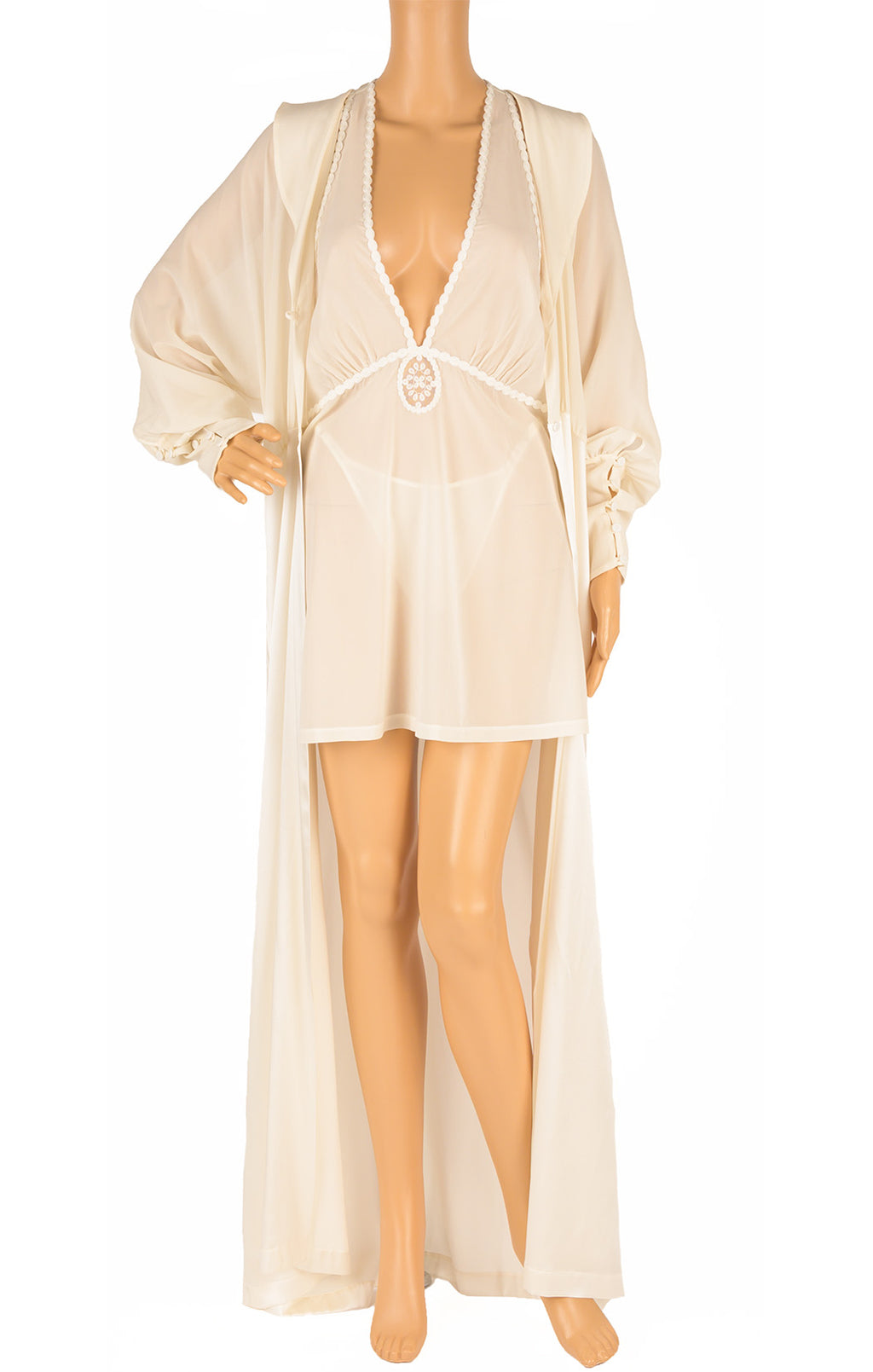 Front view of LA PERLA with tags Robe, nightgown and panty Size: Medium