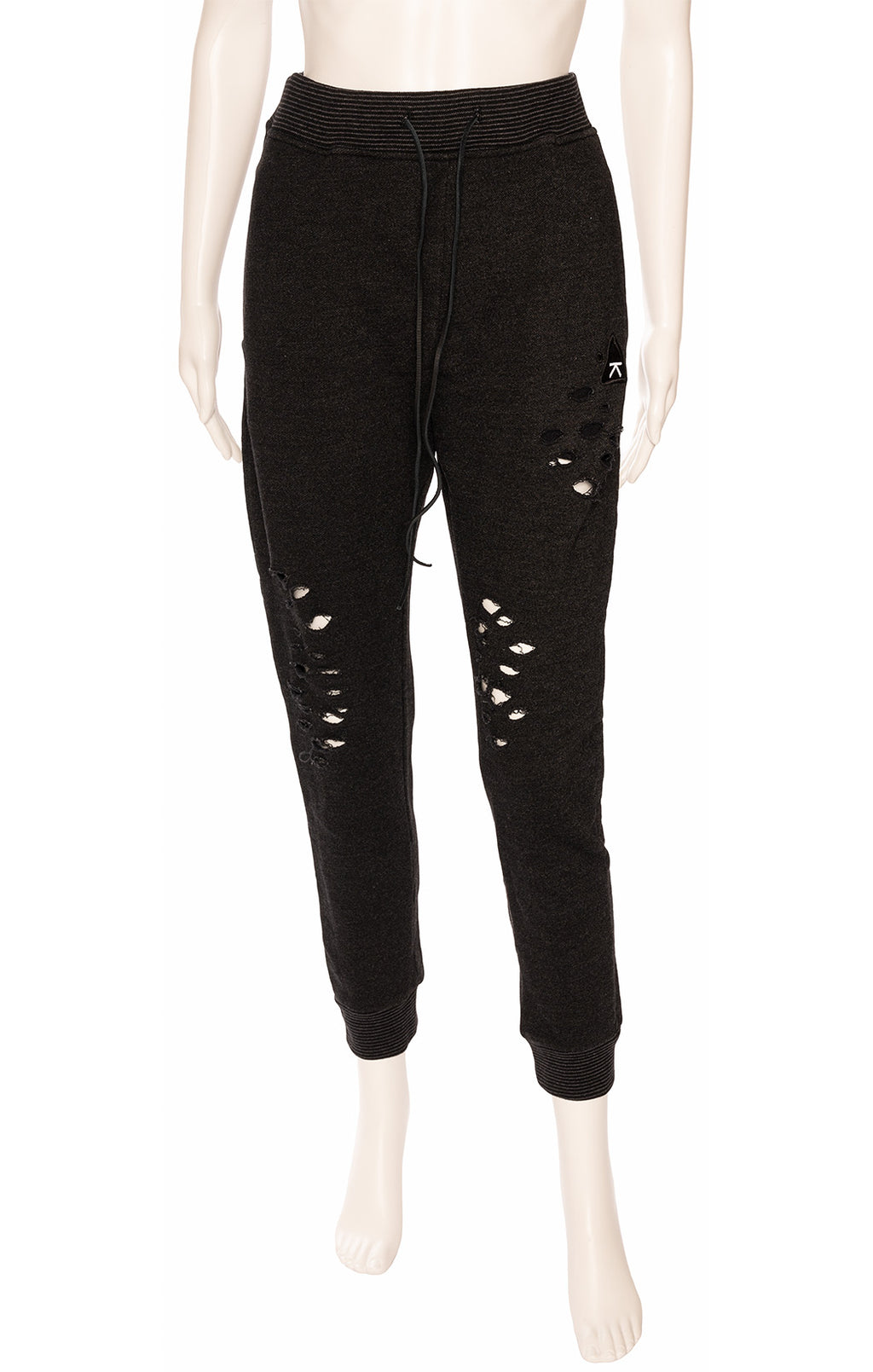 Black with holes drawstring sweatpants