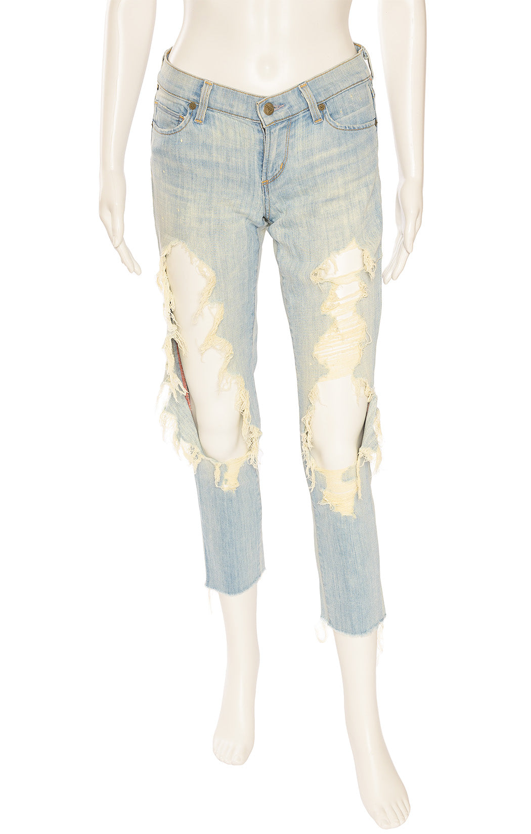 Light denim distressed ripped jeans