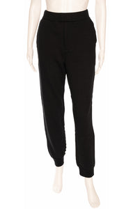 Black with white design elastic waistband sweatpants