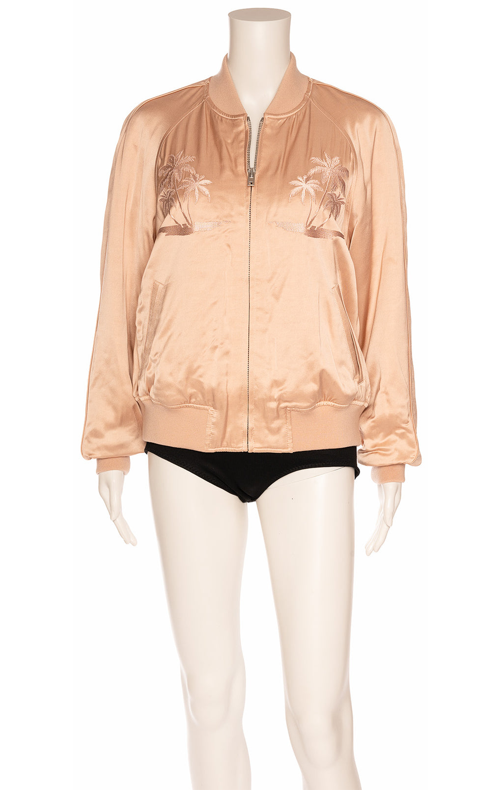 Peach colored bomber style jacket with embroidery front and back, zipper front closure and side front slit pockets