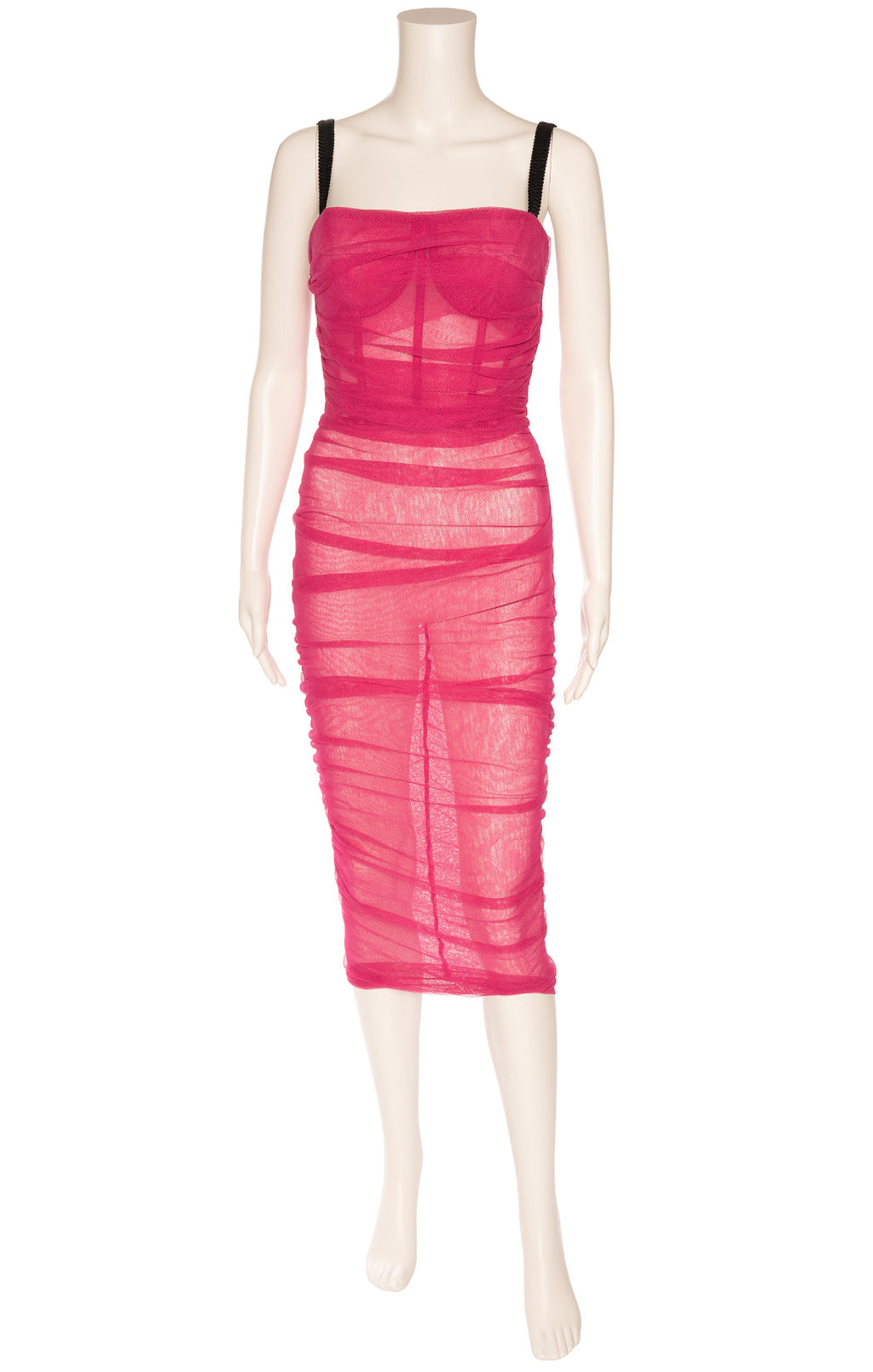 Pink rushed midi dress with underwire bra, black straps, back zipper tulle like net somewhat sheer dress