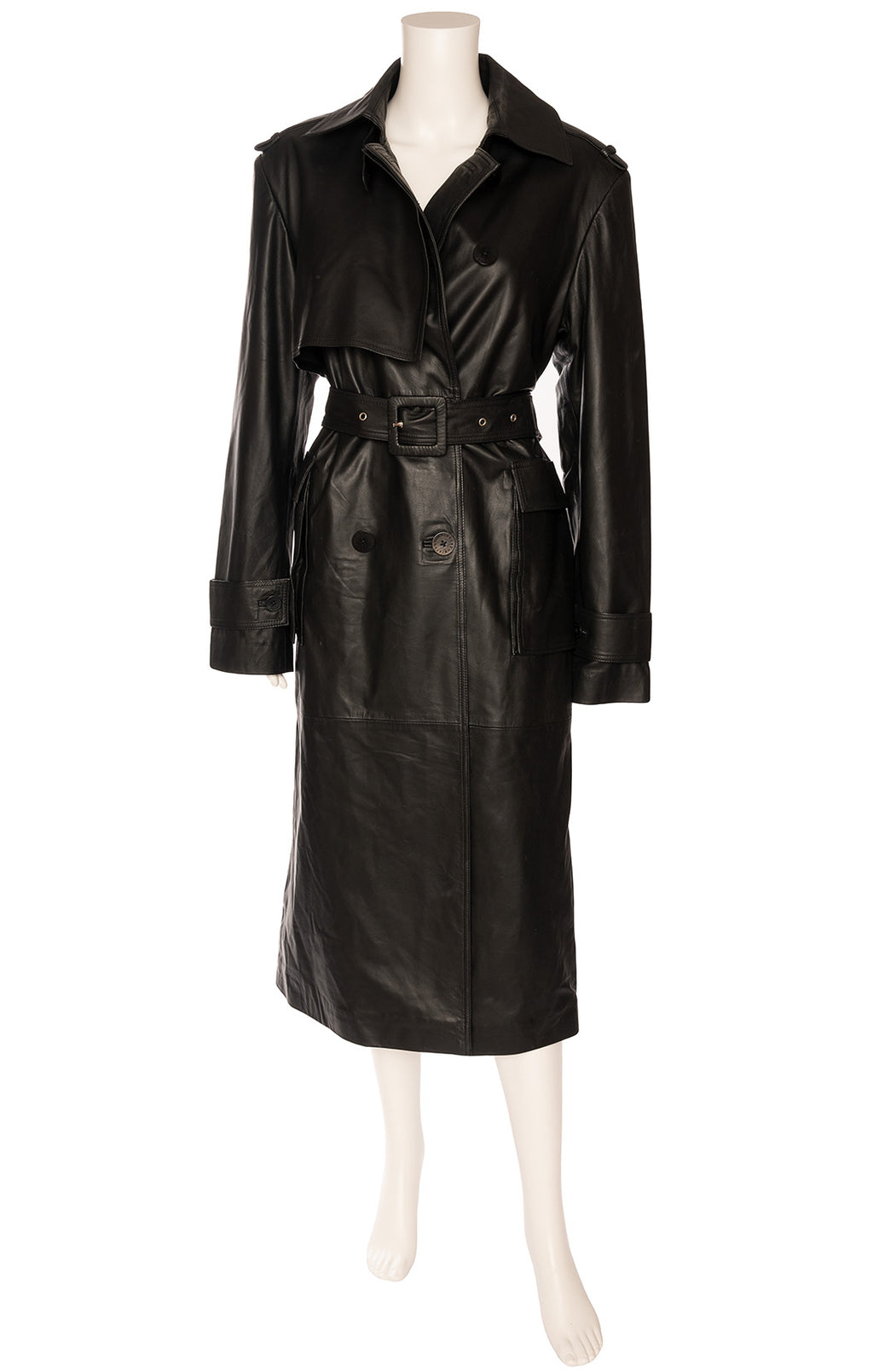 Black leather double breasted trench coat with large collar front flap pockets and matching belt